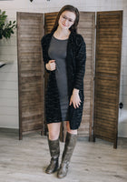 Black and Silver Textured Sweater Knit Cardigan/Duster