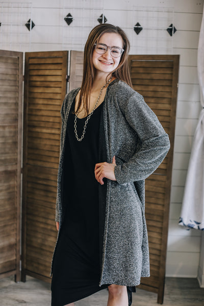 Black and Silver Sparkle Cardigan/Duster