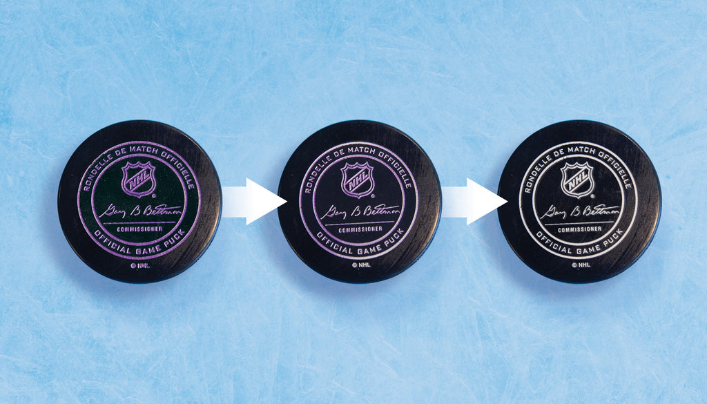 NHL keeps pucks frozen with colour-changing designs