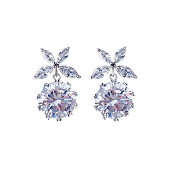 Crystal silver short earrings