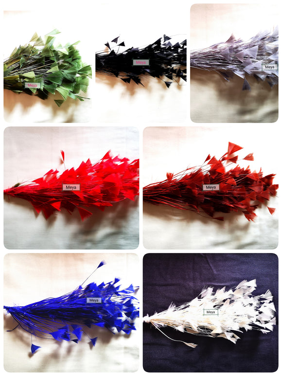 Pack of 10 mix colours - Triangle tipped stripped coque & feather mount