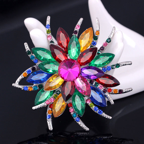 Mix colours crystal flower brooch