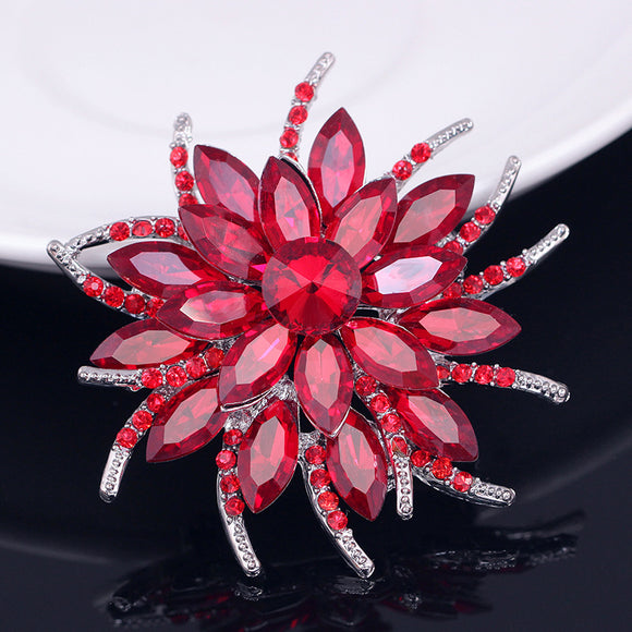 Red crystal flower brooch
