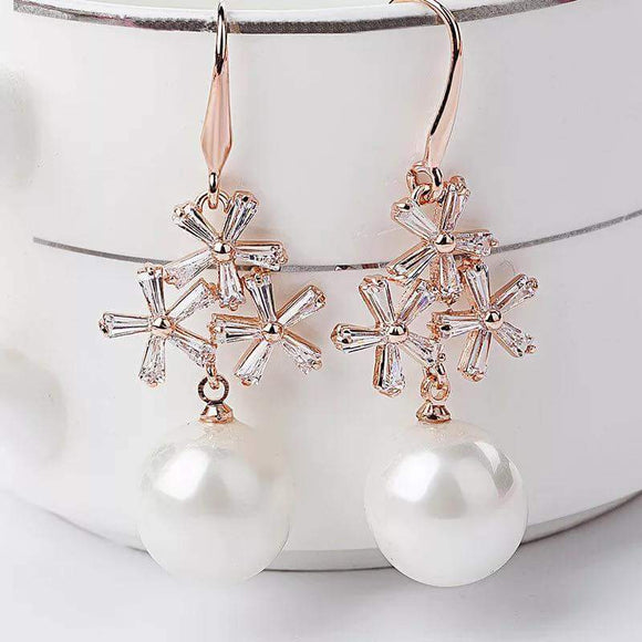 Pearl crystal drop earrings