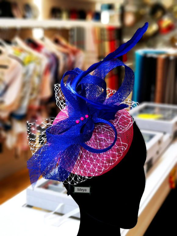 Royal blue and fuchsia pink fascinator