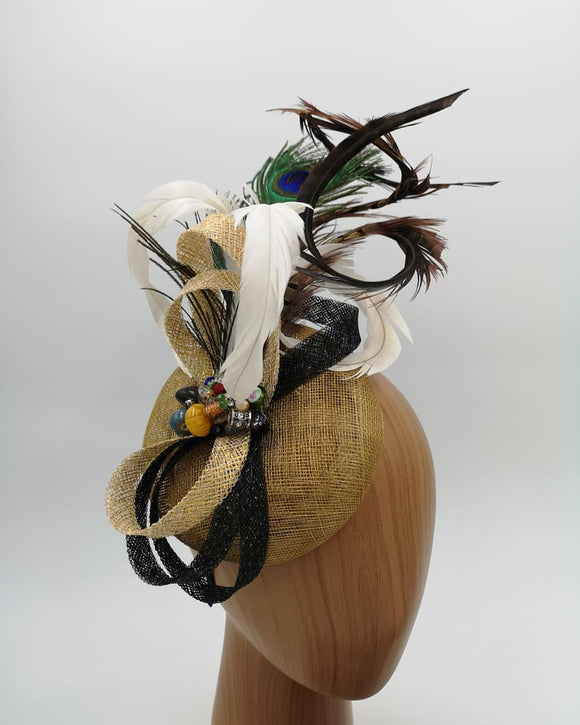 Gold, black and peacock feathers mix fascinator