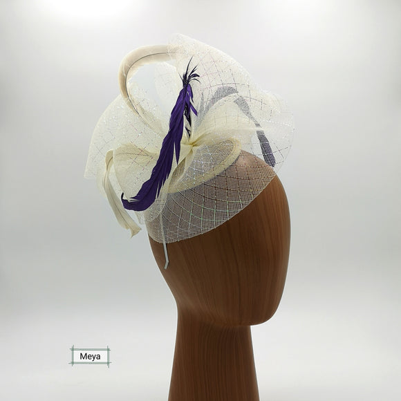 Silver and purple fascinator