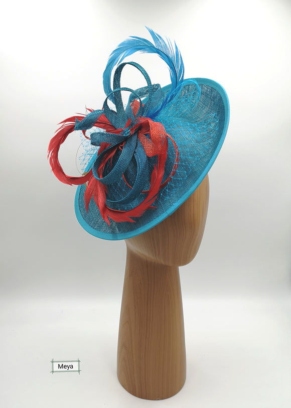 Coral and teal blue hat