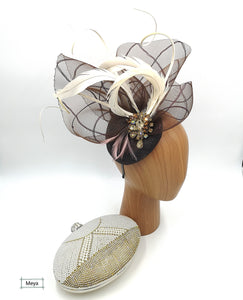 Brown and white fascinator