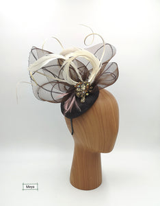 Brown and cream feathers fascinator