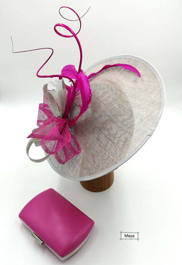 Silver and pink hat