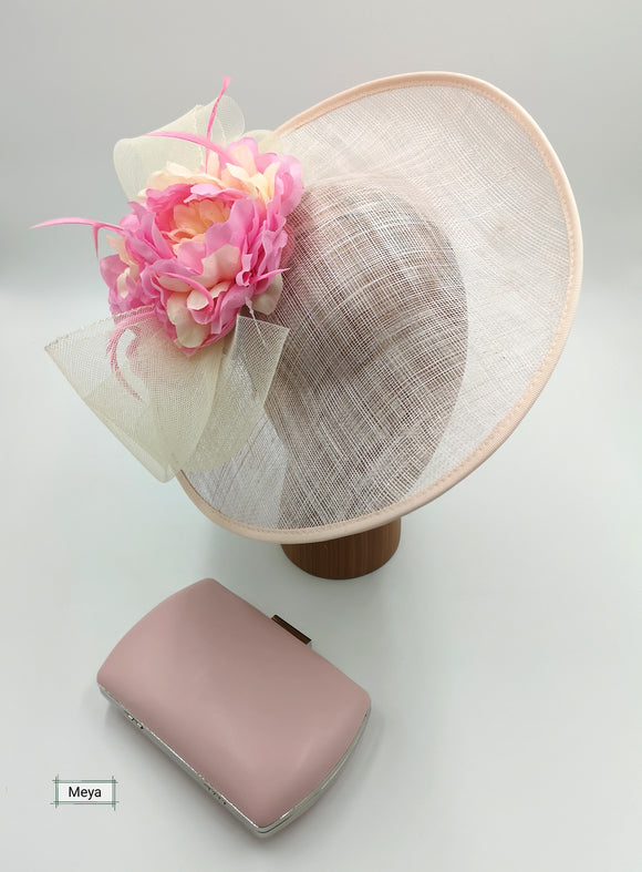 Cream and baby pink hat