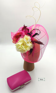 Cream and pink fascinator