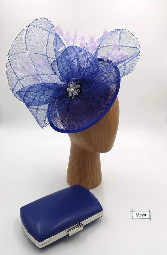 Royal blue and lilac fascinator