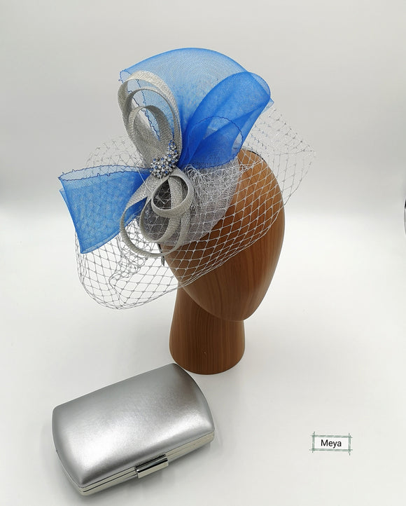 Silver and blue fascinator