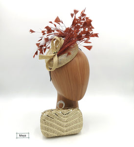 Gold and brown fascinator
