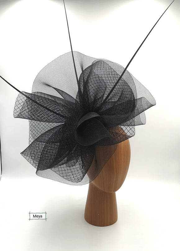 Black and silver fascinator
