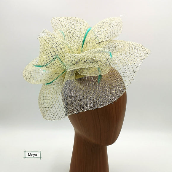 Gold with Jade feather fascinator