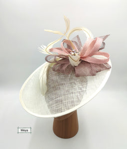 Pink and cream hat
