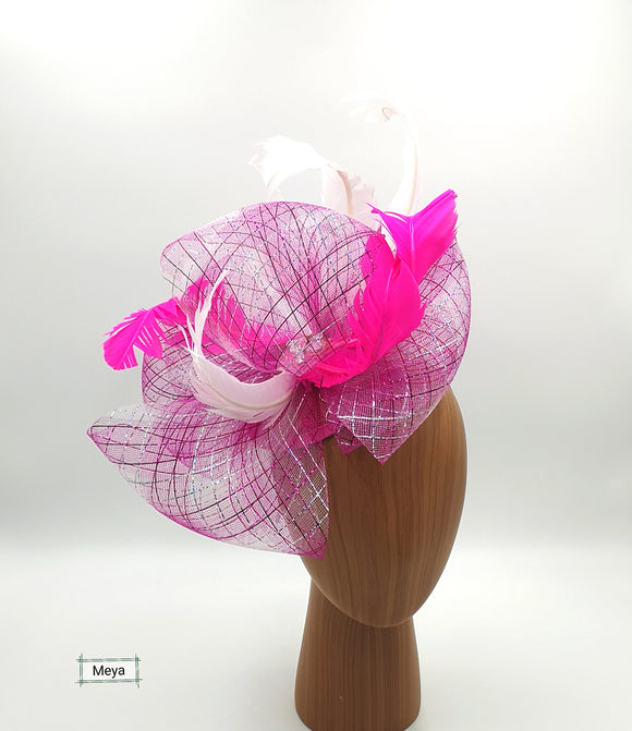 Pink silver and white mix fascinator