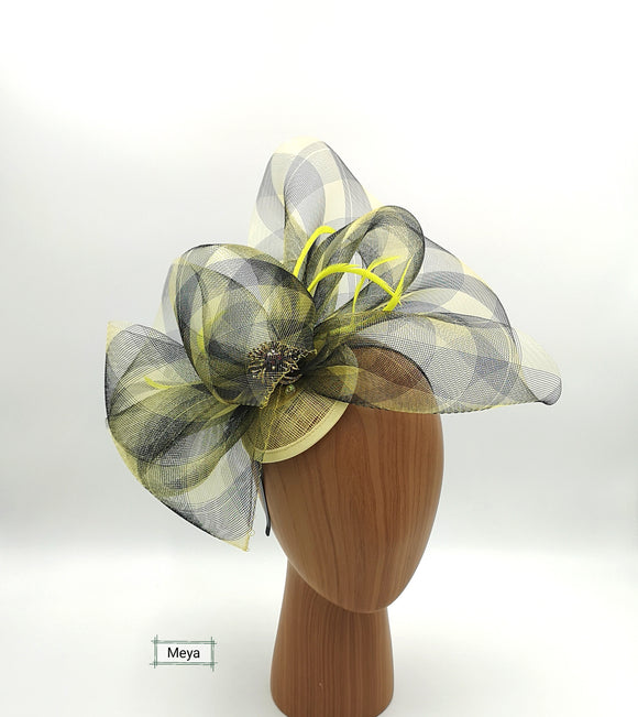 Yellow and black fascinator