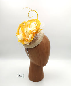 Yellow and cream flower fascinator