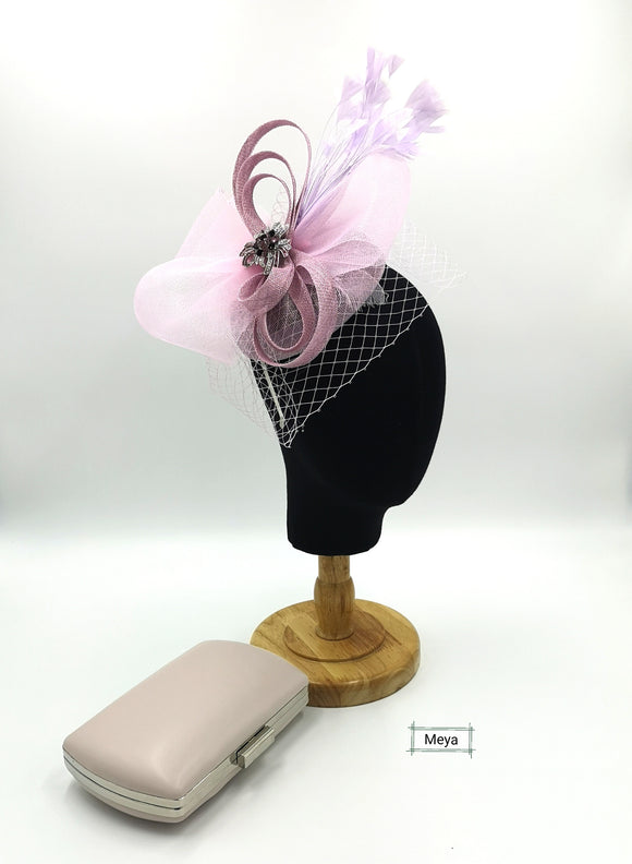 Lilac fascinator with net