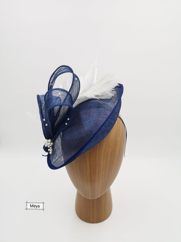 Navy and white hat fascinator