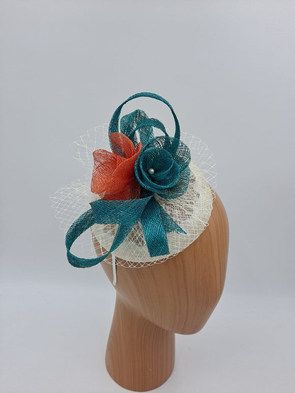 Turquoise with mix colours fascinator
