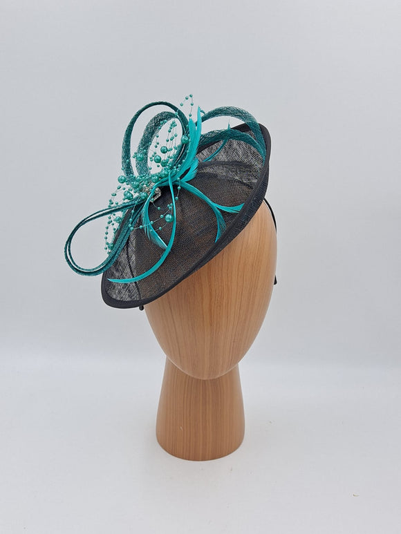 Black and turquoise hat