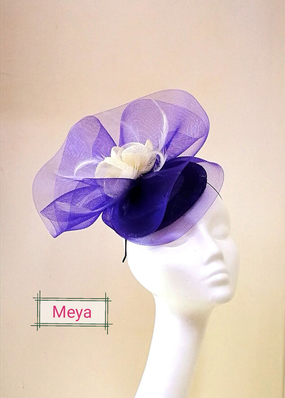 May purple large organza fascinator