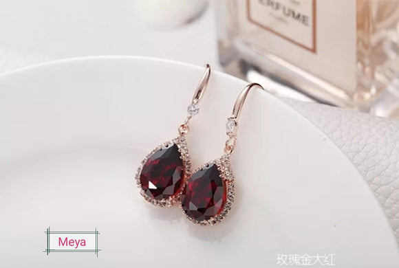 Meya crystal drop earrings (6 colours)
