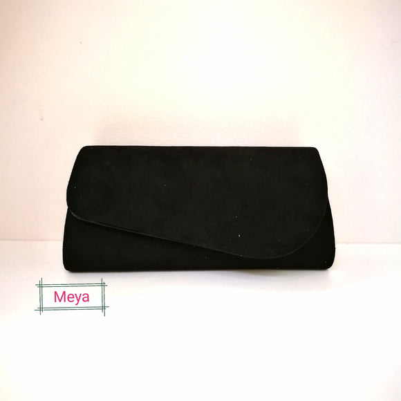 Black suedette clutch bag