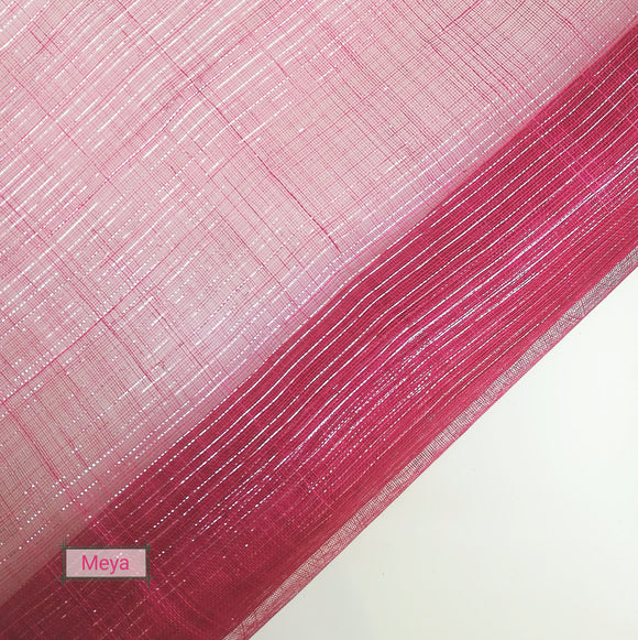 Pinstrip Lurex Threaded Sinamay - Pink - 1/2 meter [065]
