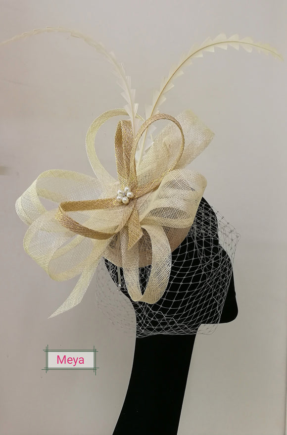 Cream with gold fascinator