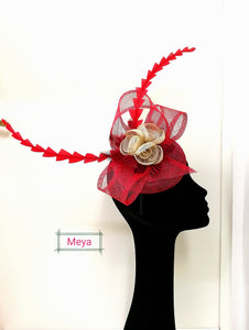 Red and cream fascinator