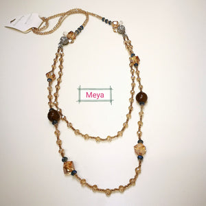Light Gold crystal long necklace