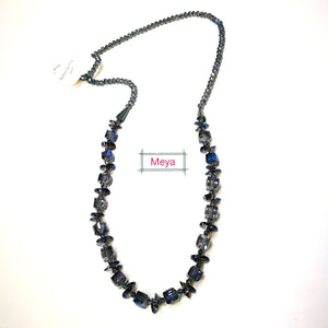 Navy crystal long necklace