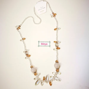 White crystal long necklace