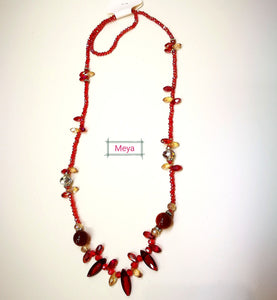 Red crystal long necklace