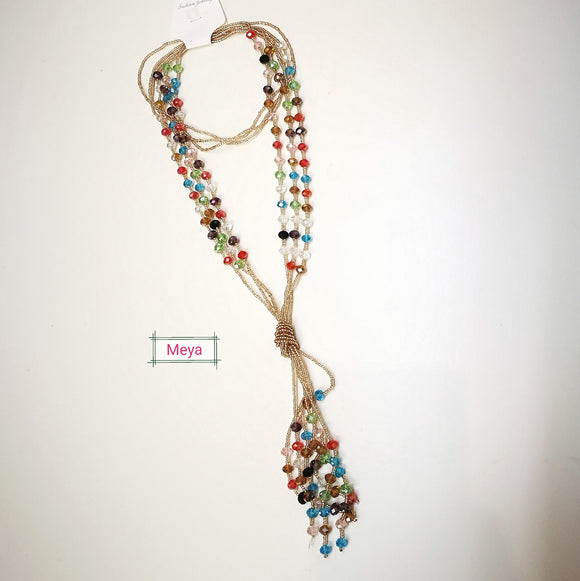 Mix colours crystal multi row long necklace