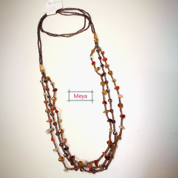 Mix colours stone and crystal multi row long necklace