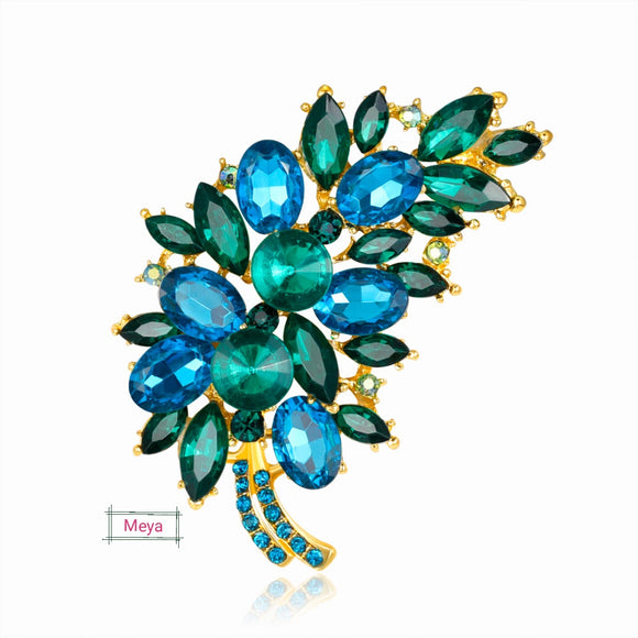 Garnished green crystal brooch