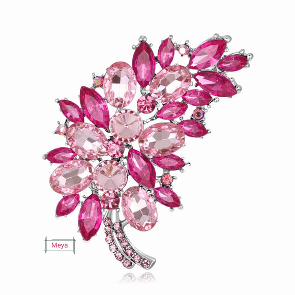 Garnished pink crystal brooch