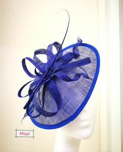 Royal blue mini disc fascinator