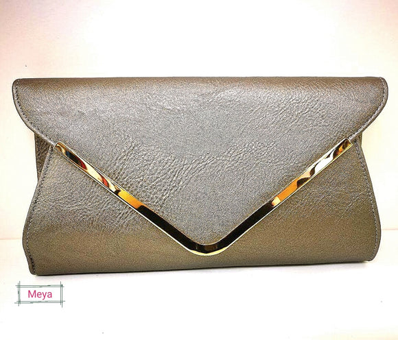 Silver grey chain strap envelope clutch bag