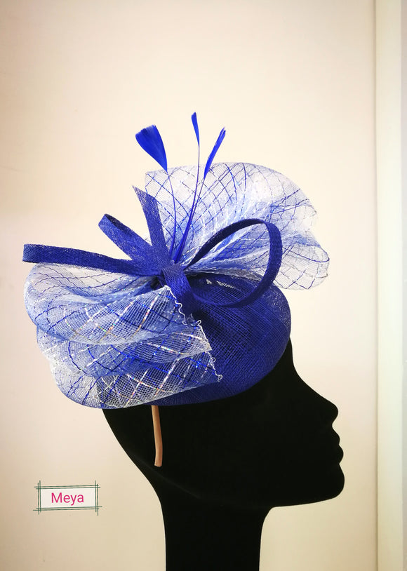 Silver and royal blue fascinator – Meya Boutique 49b82ed301f