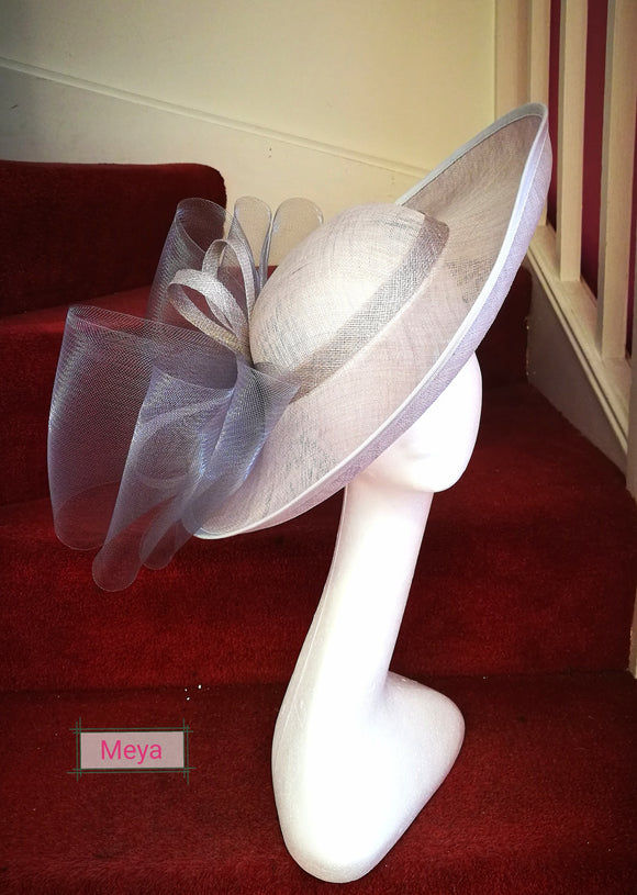 Grey and white hat - fascinator