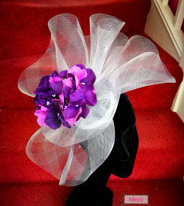 Grey And Pink Flowers Fascinator Meya Boutique