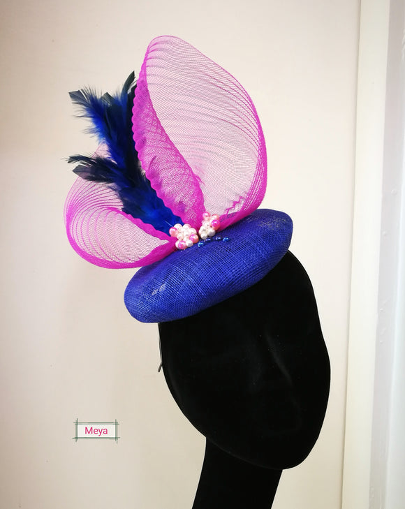 Pink and royal blue fascinator